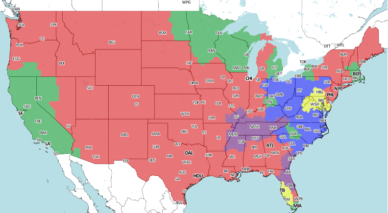 Steelers vs Browns tv map